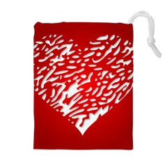 Heart Design Love Red Drawstring Pouches (Extra Large)