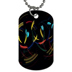 Yellow Blue Red Arcs Light Dog Tag (One Side)
