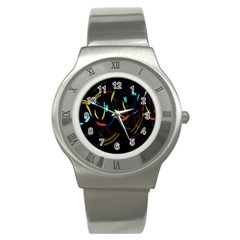 Yellow Blue Red Arcs Light Stainless Steel Watch