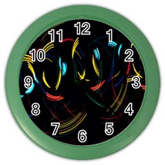 Yellow Blue Red Arcs Light Color Wall Clocks