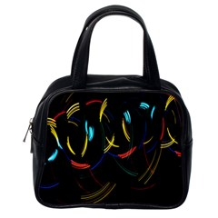 Yellow Blue Red Arcs Light Classic Handbags (One Side)