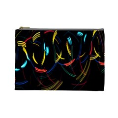 Yellow Blue Red Arcs Light Cosmetic Bag (Large)