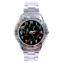 Yellow Blue Red Arcs Light Stainless Steel Analogue Watch