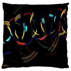 Yellow Blue Red Arcs Light Large Cushion Case (Two Sides)