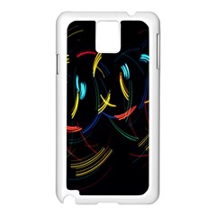 Yellow Blue Red Arcs Light Samsung Galaxy Note 3 N9005 Case (White)