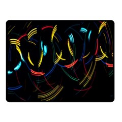 Yellow Blue Red Arcs Light Double Sided Fleece Blanket (Small)