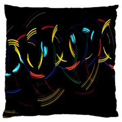 Yellow Blue Red Arcs Light Large Flano Cushion Case (Two Sides)