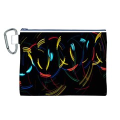 Yellow Blue Red Arcs Light Canvas Cosmetic Bag (L)