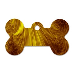 Flower Gold Hair Dog Tag Bone (Two Sides)