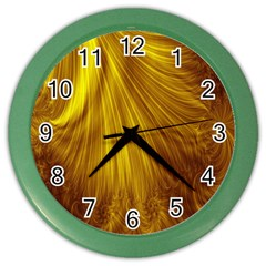 Flower Gold Hair Color Wall Clocks