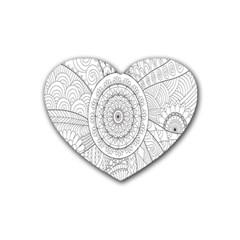 Flower Rose Flowering Sunflower Black Rubber Coaster (Heart)