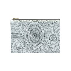 Flower Rose Flowering Sunflower Black Cosmetic Bag (Medium)