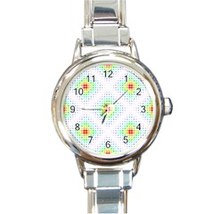 Color Square Round Italian Charm Watch