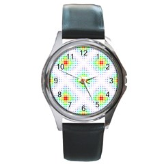 Color Square Round Metal Watch