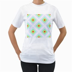 Color Square Women s T-Shirt (White) (Two Sided)