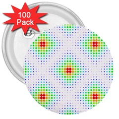 Color Square 3  Buttons (100 pack)