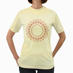 Floral Frame Pink Red Star Leaf Flower Women s Yellow T-Shirt