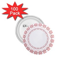 Floral Frame Pink Red Star Leaf Flower 1 75  Buttons (100 Pack)