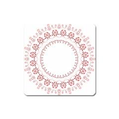 Floral Frame Pink Red Star Leaf Flower Square Magnet