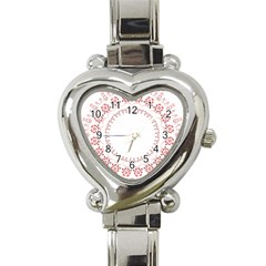 Floral Frame Pink Red Star Leaf Flower Heart Italian Charm Watch