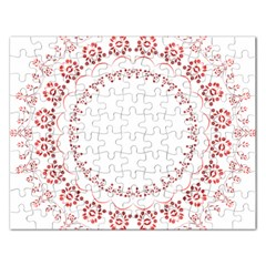 Floral Frame Pink Red Star Leaf Flower Rectangular Jigsaw Puzzl
