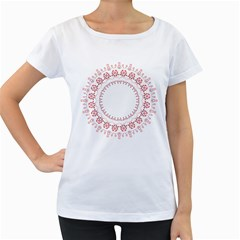 Floral Frame Pink Red Star Leaf Flower Women s Loose-Fit T-Shirt (White)