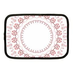 Floral Frame Pink Red Star Leaf Flower Netbook Case (Medium)
