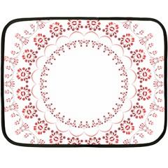 Floral Frame Pink Red Star Leaf Flower Fleece Blanket (Mini)