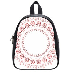 Floral Frame Pink Red Star Leaf Flower School Bags (Small)