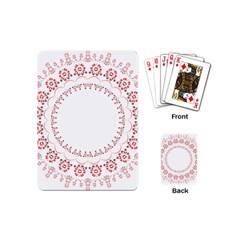 Floral Frame Pink Red Star Leaf Flower Playing Cards (Mini)