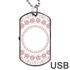 Floral Frame Pink Red Star Leaf Flower Dog Tag USB Flash (Two Sides)