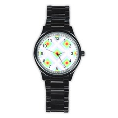 Color Square Stainless Steel Round Watch