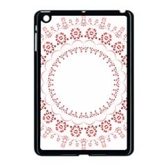 Floral Frame Pink Red Star Leaf Flower Apple iPad Mini Case (Black)