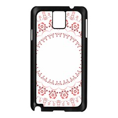 Floral Frame Pink Red Star Leaf Flower Samsung Galaxy Note 3 N9005 Case (Black)