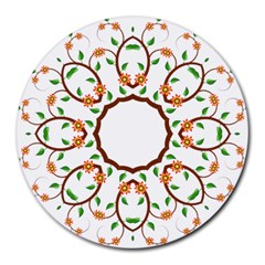 Frame Floral Tree Flower Leaf Star Circle Round Mousepads