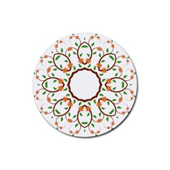 Frame Floral Tree Flower Leaf Star Circle Rubber Coaster (Round)