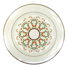 Frame Floral Tree Flower Leaf Star Circle Porcelain Plates