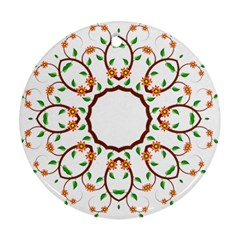 Frame Floral Tree Flower Leaf Star Circle Round Ornament (Two Sides)
