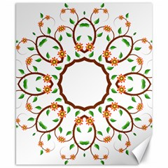 Frame Floral Tree Flower Leaf Star Circle Canvas 8  x 10