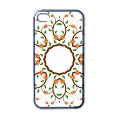 Frame Floral Tree Flower Leaf Star Circle Apple iPhone 4 Case (Black)