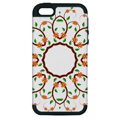 Frame Floral Tree Flower Leaf Star Circle Apple iPhone 5 Hardshell Case (PC+Silicone)