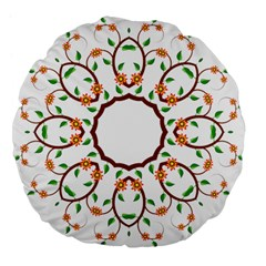 Frame Floral Tree Flower Leaf Star Circle Large 18  Premium Flano Round Cushions