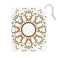 Frame Floral Tree Flower Leaf Star Circle Drawstring Pouches (Extra Large)