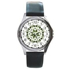 Frame Flourish Flower Green Star Round Metal Watch