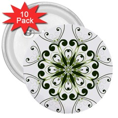 Frame Flourish Flower Green Star 3  Buttons (10 pack)