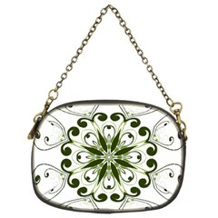 Frame Flourish Flower Green Star Chain Purses (two Sides)