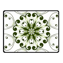 Frame Flourish Flower Green Star Fleece Blanket (Small)