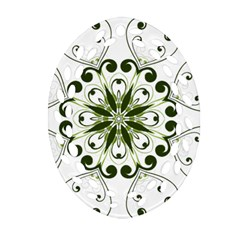 Frame Flourish Flower Green Star Oval Filigree Ornament (Two Sides)