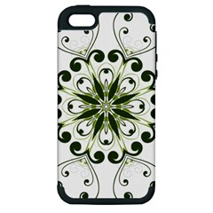 Frame Flourish Flower Green Star Apple iPhone 5 Hardshell Case (PC+Silicone)