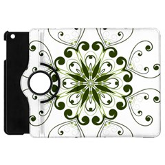 Frame Flourish Flower Green Star Apple iPad Mini Flip 360 Case